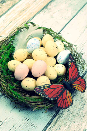 speckled wood: Retro vintage Happy Easter Spring speckled eggs with butterfly and feather in nest against a blue shabby chic wood table with copy space