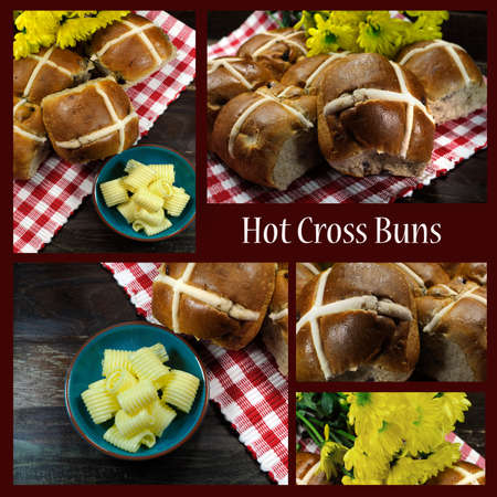 place mat: Collage of English style Happy Easter Hot Cross Buns tradition for Good Friday meal on dark vintage country style red check place mat setting with yellow Spring daisies.