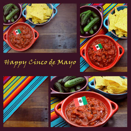 fiesta: collage with Mexican colors, food, background and sample text