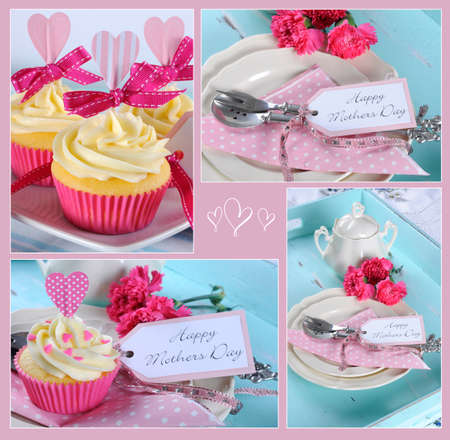 Happy Mothers Day collage of four images of pink theme cupcakes gifts on vintage aqua blue tray setting with berries and cream  photo