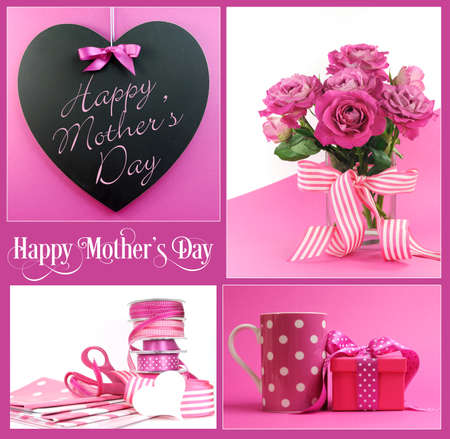 Happy Mothers Day collage of pink theme gifts, roses, flowrers, blackboard sign, gift wrapping and gift with coffee