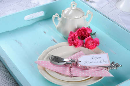 party tray: Happy Mothers Day aqua blue breakfast morning tea vintage retro shabby chic tray setting with antique fine china plates, pink carnations and sugar bowl