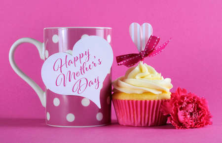 Happy Mothers Day cupcake gift with pink heart decorations for coffee gift and loving gift tag message, photo