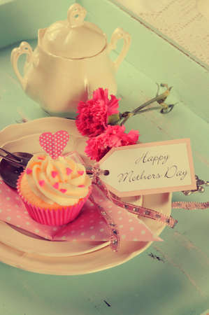 aqua flowers: Retro vintage style Happy Mothers Day shabby chic aqua blue tray with pink cupcake and greeting tag.