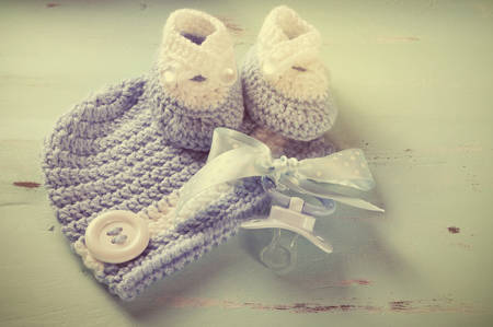 Retro vintage filter baby boy nursery blue and white wool booties photo