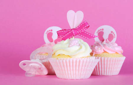 gir: Pink theme baby girl three cupcakes with dummy pacifier