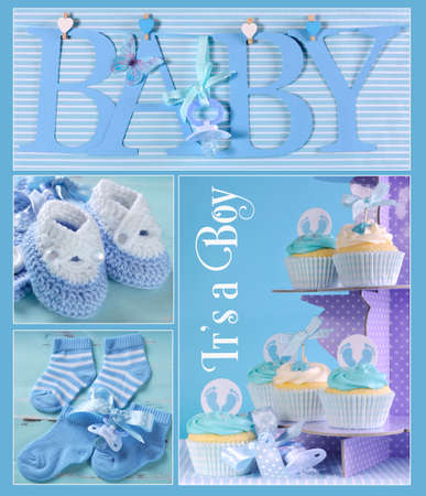 Collage of four blue theme baby boy images and sample text of BABY letters bunting hanging from pegs on a line, booties, socks and cupcakes on purple polka dot stand with Its a Boy sample text, for baby shower or nursery greeting cards.
