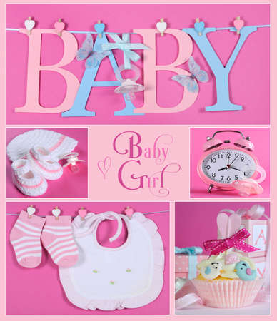 Collage of five pink theme baby girl images and sample text of BABY letters bunting hanging from pegs on a line, booties and bonnet, nursery clock and dummy pacifier, bib and socks and beautiful cupcake.
