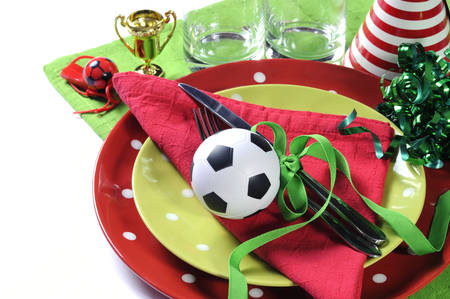 football party: Soccer football party table in red white and green team colors