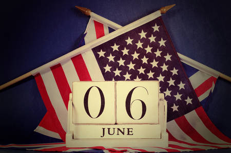 Retro vintage style D-Day calendar for 70th anniversary of 6 june  photo