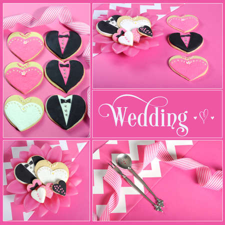 Wedding collage of four pink, black and white bride and groom heart shape cookies on modern table setting with sample text  photo