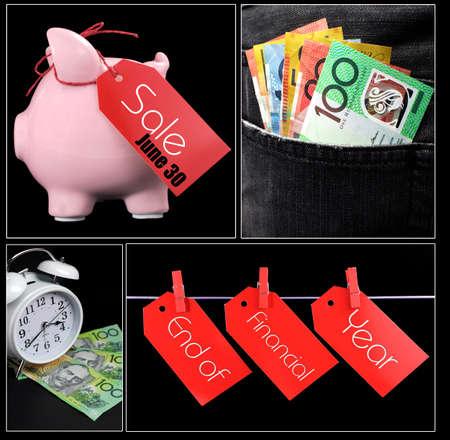 fin de ao: Final australiano del Ejercicio collage de ahorros, venta, el gasto y el dinero en im�genes del concepto de bolsillo.