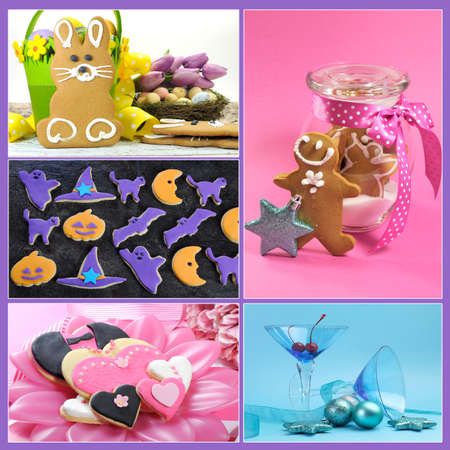 Multi holiday food and drink collage of five colorful images for Christmas, New Year, Easter, Valentines Day and Halloween photo