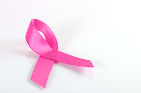 breast cancer awareness ribbon: Pink Ribbon Charity for Womens Breast Cancer Awareness fund raising with pink ribbon symbol on a white background.