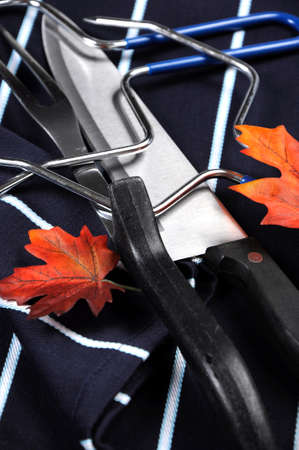 prongs: Thanksgiving roast turkey carving utensils set with dark blue stripe apron on white vintage shabby chic table top with autumn leaves. Close up.