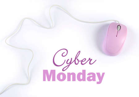 Cyber Monday sale shopping sign with pink purple computer mouse on white background.