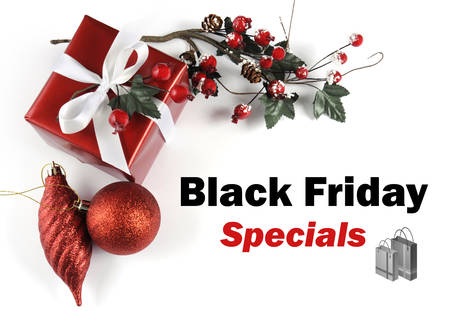 specials: Black Friday Specials sale message greeting with Christmas gift and decorations on White background.