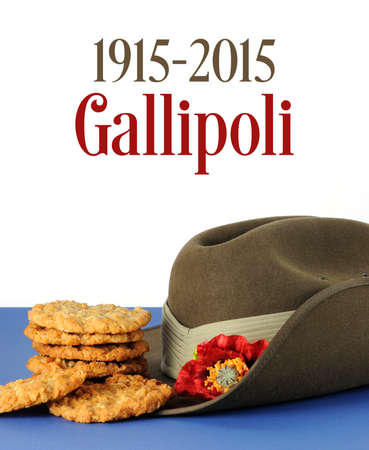 anzac: Australian Gallipoli Centenary, WWI, April 1915, tribute with ANZAC biscuits, army slouch hat and sample text. Stock Photo