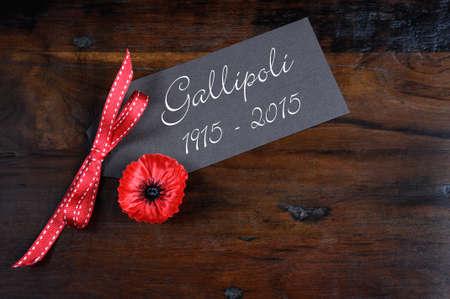 pavo: Australia Gallipoli Centenario, la Primera Guerra Mundial, abril de 1915, el tributo con la amapola roja insignia de solapa la insignia en el fondo de madera reciclada oscuro.