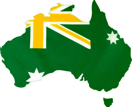downunder: Map of Australia with Australian flag in unofficial green and gold colours.