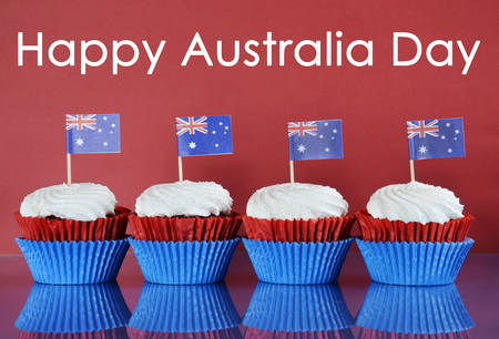 party with food: Happy Australia Day, January 26th, party food with red, white and blue cupcakes and Australian flags on red and blue background with sample text greeting.