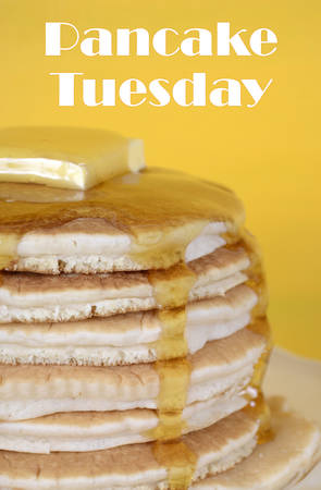 shrove tuesday: Shrove Pancake Tuesday stack of pancakes with honey and butter on yellow and aqua blue vintage shabby chic table, closeup with text. .