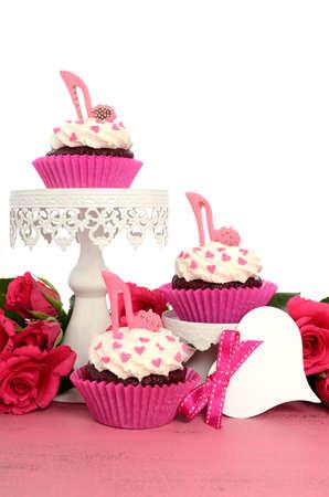 Retro, Vintage, Alte Mode-Stil Prinzessin Cupcake Mit High Heel ...