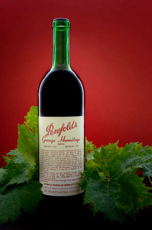 collectable: ADELAIDE, SOUTH AUSTRALIA – FEBRUARY 23, 2015: Bottle of Australian premium wine, Penfolds Grange Hermitage, Bin 95, vintage 1988, bottled 1989 in the Barossa Valley, South Australia, and now considered highly collectable by wine collectors from around
