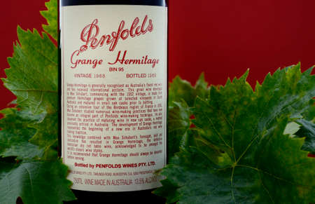 bottled: ADELAIDE, SOUTH AUSTRALIA – FEBRUARY 23, 2015: Bottle of Australian premium wine, Penfolds Grange Hermitage, Bin 95, vintage 1988, bottled 1989 in the Barossa Valley, South Australia, and now considered highly collectable by wine collectors from around