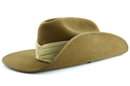 anzac: ANZAC army soldier slouch hat on white background.