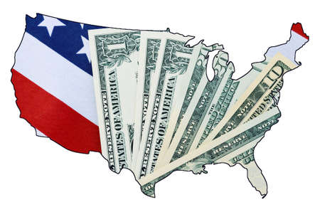 USA Stars and Stripes flag and money within outline of USA map on white background, for financial or tax day concept. photo