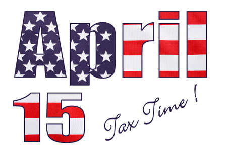april 15: USA Stars and Stripes flag in April 15 letters and numbers outline, with tax time text on white background. Stock Photo