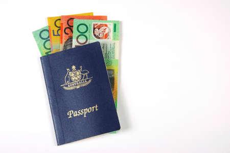 australian money: Australian Money with passport for travel concept.