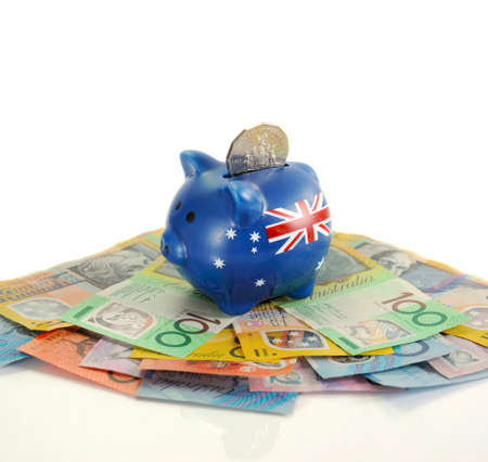 downunder: Australian Money with Piggy Bank for saving, spending or end of financial year sale.
