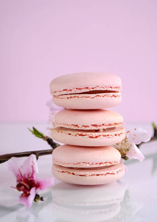 Shabby chic vintage style pink macarons on white reflective table and pink Spring blossom.