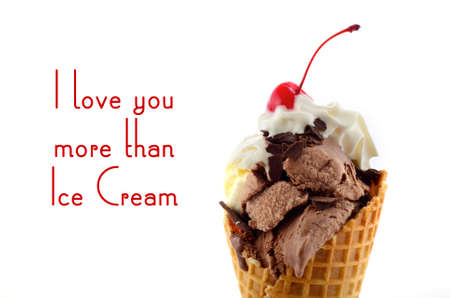 a stem here: Chocolate and vanilla ice cream wafer cone with whipped cream and cherry with stem on top, with I Love You More Than Ice Cream quote. Stock Photo