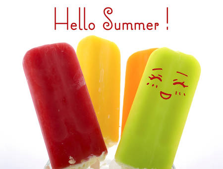 Summer is Here concept with bright color ice pop, ice creams with cute face and Hello Summer text.