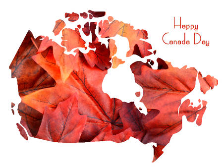 canada country: Red Maple Leaves in shape of Canada map, on white background with Happy Canada Day sample text.