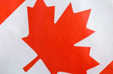 dominion: Canadian red and white maple leaf flag for Canada Day, July 1, celebration and national holidays, closeup.