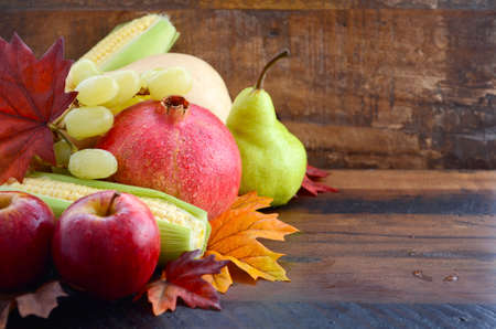 Autumn Fruit and Vegetable Background with fresh butternut pumpkin, grapes, leaves, apples, pear, pomegranate, and corn, with copy space for your text here.. Reklamní fotografie