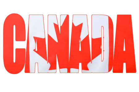 Photo of the Canadian maple leaf red and flag within outline cutout of the word, Canada, on white background.