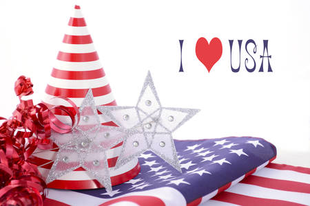 independance: Patriotic party decorations and stars and stripes flag for Fourth of July and USA Events. Stock Photo