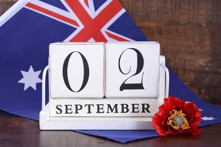 vj: End of WWII 2 September 1945 Calendar Date with Australian flag. Archivio Fotografico