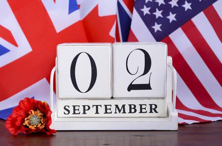 vj: Fine della seconda guerra mondiale 2 Set 1945 Calendario Data con un gruppo di bandiere.