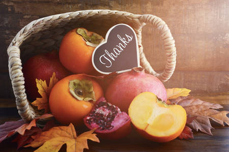 thanks: Thanksgiving Autumn feast fruit, with persimmons and pomegranates tumbling out of a basket with Thanks message on a rustic wood background, and added filters and lens flare light stream.