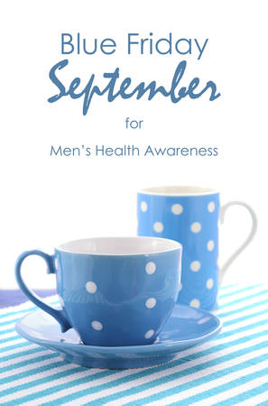 cancer research: Blue September, Blue Friday Charity Event Fundraiser, with blue coffee and tea cups and mugs for mens cancer research and health awareness. Stock Photo