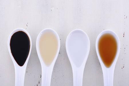 Serving size samples of different types of vinegar including Balsamic, Apple Cider, White and Malt vinegars.