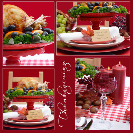 fine cane: Red and white theme festive Thanksgiving table collage with place setting, wine glass, candles, Roast Turkey and sample text.