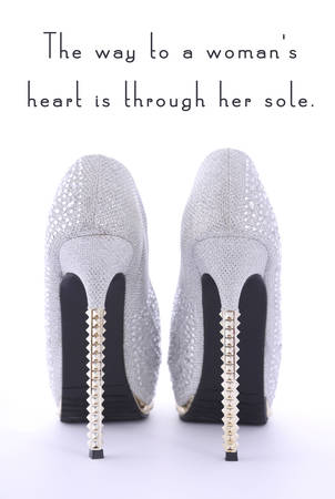 Women s shoes: High Heel Rhinestone Shoes with Funny Saying Text, The way to a womans heart is through her sole, on white background.