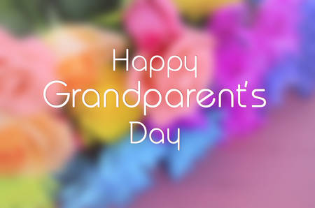 Blurred background of bright colorful flowers on pink wood table with Happy Grandparents Day text.